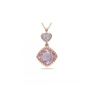 Pozłacana różowym złotem zawieszka z fioletową cyrkonią