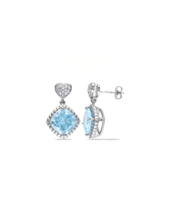 srebrne kolczyki z niebieską cyrkonią Srebrne kolczyki z niebieską cyrkonią
