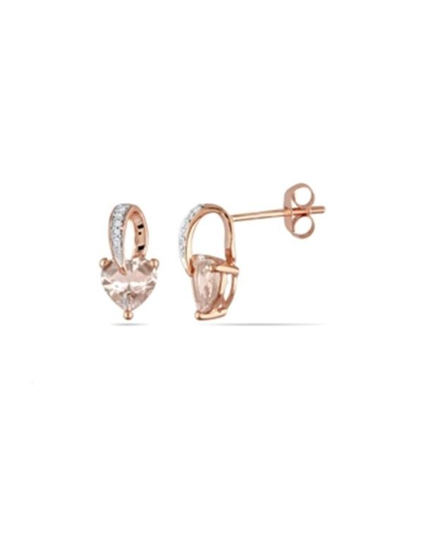 Kolczyki cyrkoniowe serduszka Kolczyki serduszka z cyrkonią pozłacane różowym złotem
