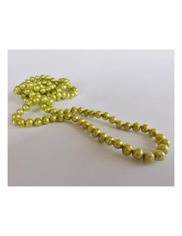 Naszyjnik z pereł - złote khaki Naszyjnik z pereł - złote khaki