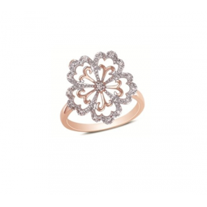 Pierścionek kwiat pozłacany różowym złotem