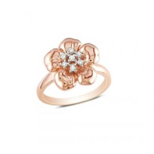 Pierścionek kwiat - pozłacany różowym złotem