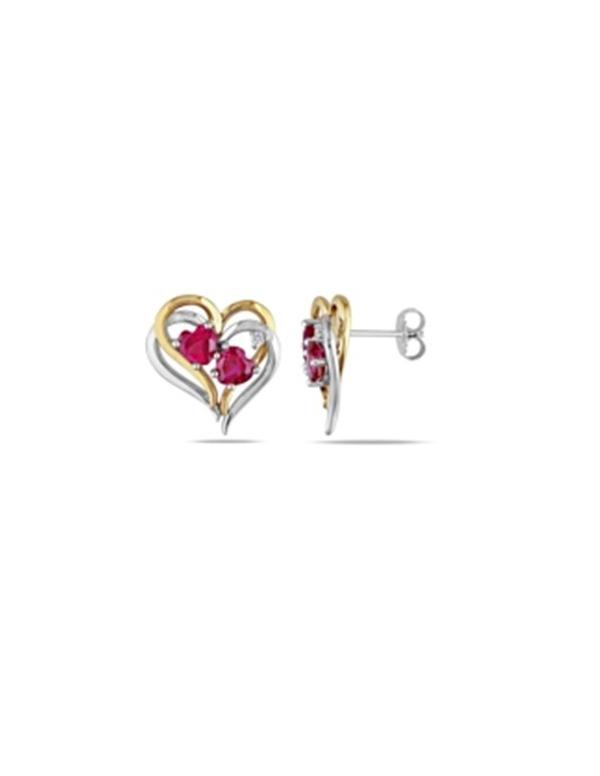 Dwukolorowe kolczyki serca Pozłacane kolczyki serca z czerwoną cyrkonią
