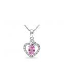 Zawieszka serce z różową cyrkonią Zawieszka serce z różową cyrkonią