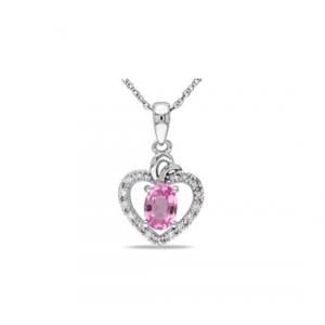 Zawieszka serce z różową cyrkonią