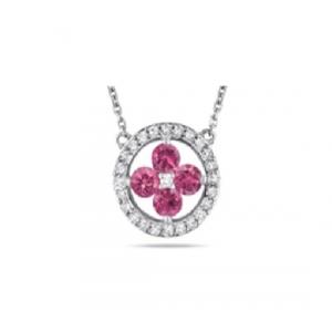 Srebrny naszyjnik z różowymi cyrkoniami