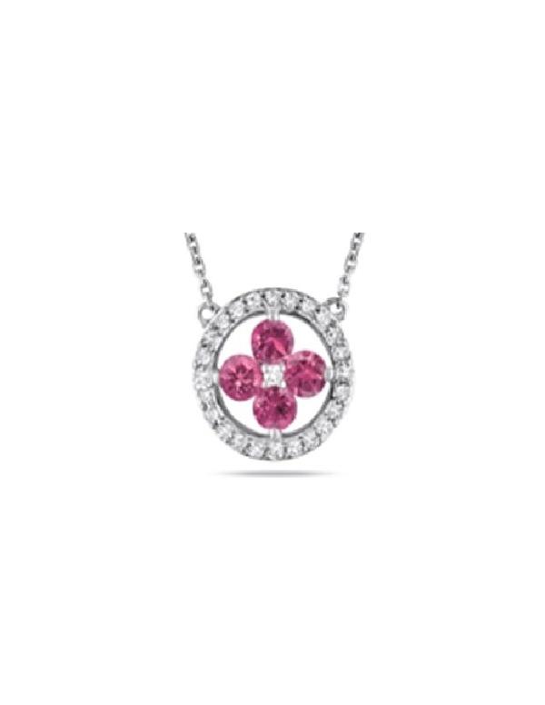 Srebrny naszyjnik z różowymi cyrkoniami Srebrny naszyjnik z różowymi cyrkoniami