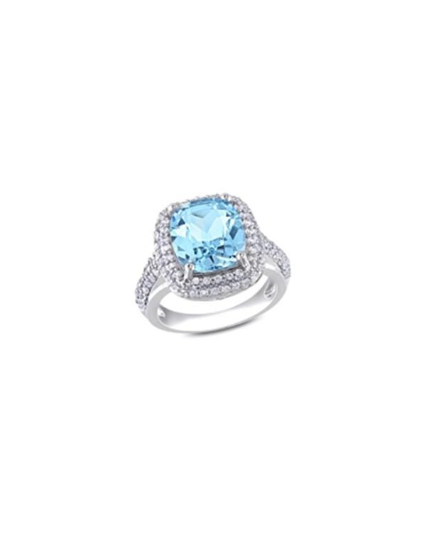 Pierścionek z niebieskim okiem Srebrny pierścionek z niebieskim oczkiem prostokątnym cyrkonia