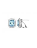 Kolczyki z niebieskim okiem Srebrne kolczyki z niebieskim oczkiem prostokątnym cyrkonia