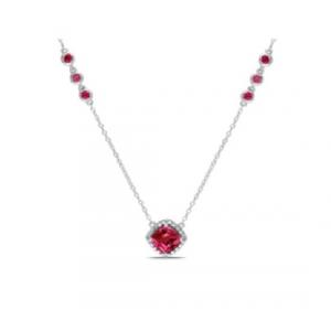 Srebrny naszyjnik z czerwonymi cyrkoniami