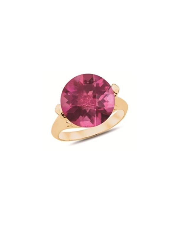 Pozłacany pierścionek z czerwoną cyrkonią Pozłacany pierścionek z czerwoną cyrkonią