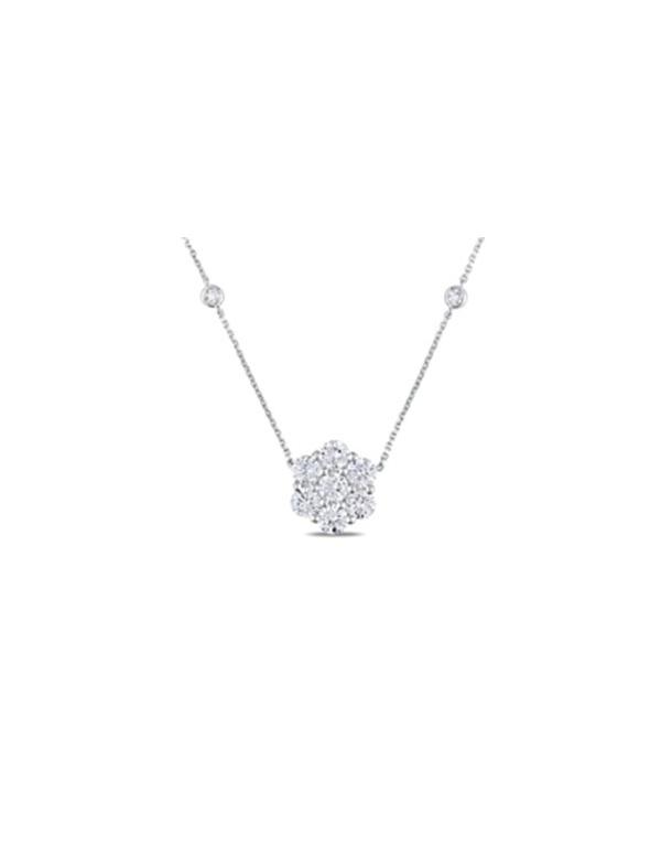 Naszyjnik srebrny kwiat Srebrny naszyjnik z białymi cyrkoniami