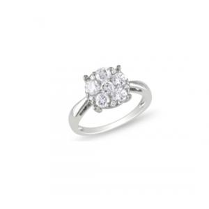Srebrny pierścionek kwiat Srebrny pierścionek z białymi cyrkoniami