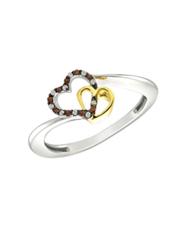 Pierścionek z sercami obsadzony cyrkoniami Srebrny pierścionek z brązowymi cyrkoniami i podwójnym sercem