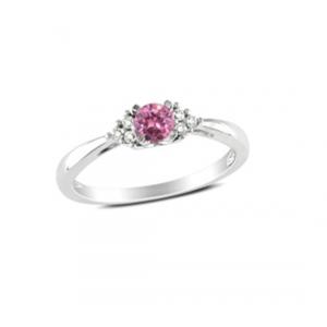 Srebrny pierścionek z białymi cyrkoniami i czerwonym oczkiem
