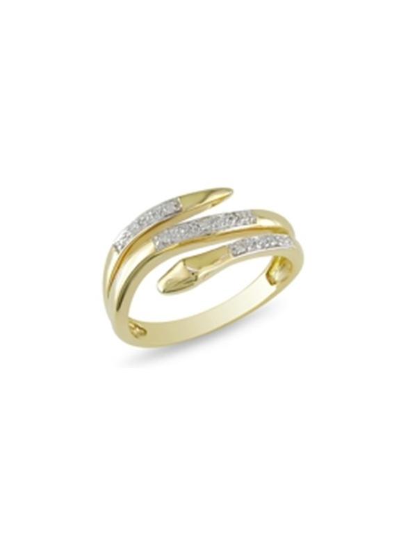 """Pozłacany pierścionek z białymi cyrkoniami Pozłacany pierścionek z białymi cyrkoniami """"wąż"""""""