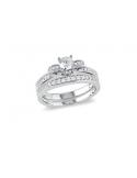Podwójny pierścionek z białymi cyrkoniami Podwójny srebrny pierścionek z białymi cyrkoniami z dodatkową obrączką