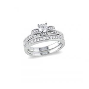 Podwójny pierścionek z białymi cyrkoniami