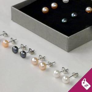 Kolczyki srebrne z perłami sztyfty