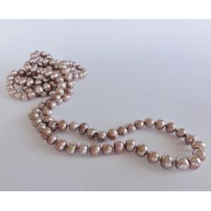 Naszyjnik z pereł - różowe cappuccino