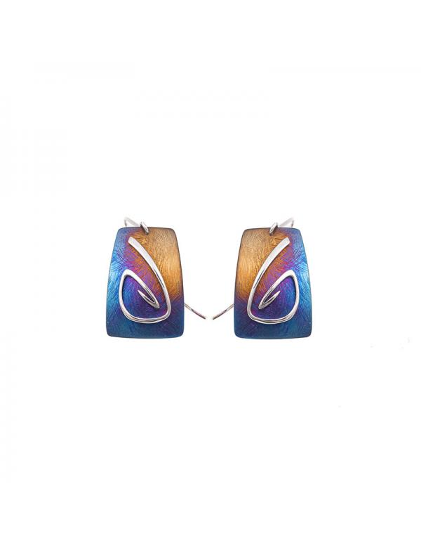 Srebrne kolczyki z tęczowym tytanem