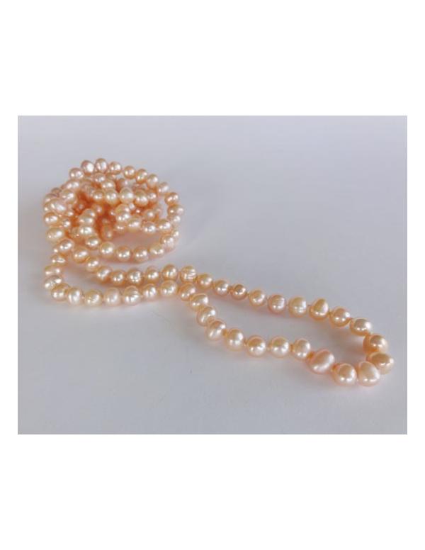 Naszyjnik z pereł - srebrny łososiowy Naszyjnik z pereł - srebrny łososiowy