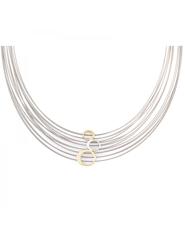 Srebrny naszyjnik z kółkami i pozłacanymi elementami