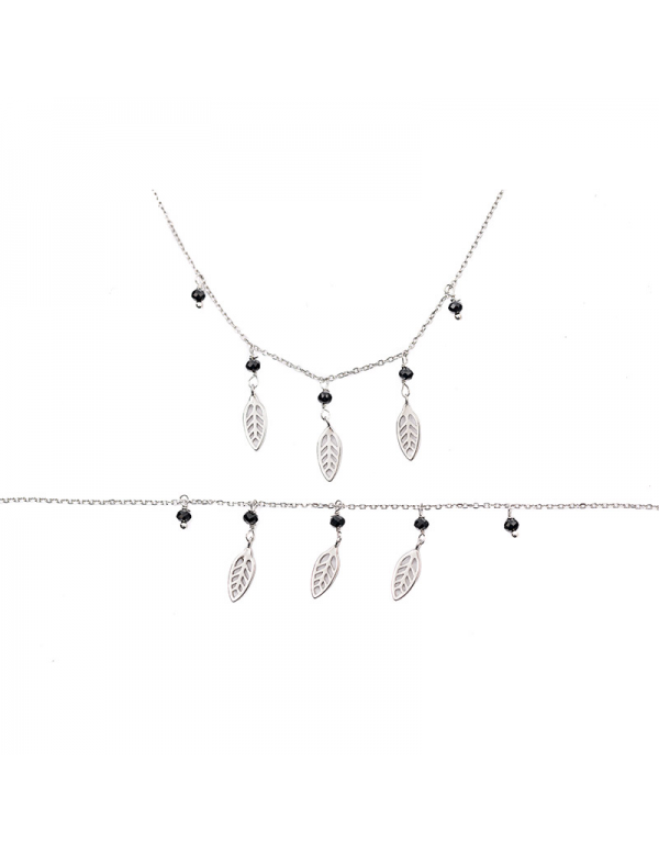 Srebrny komplet naszyjnik i bransoletka z listkami i czarnymi cyrkoniami