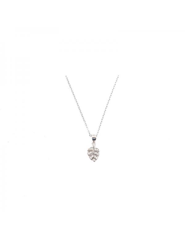 Srebrny naszyjnik z liściem szeflery i cyrkoniami