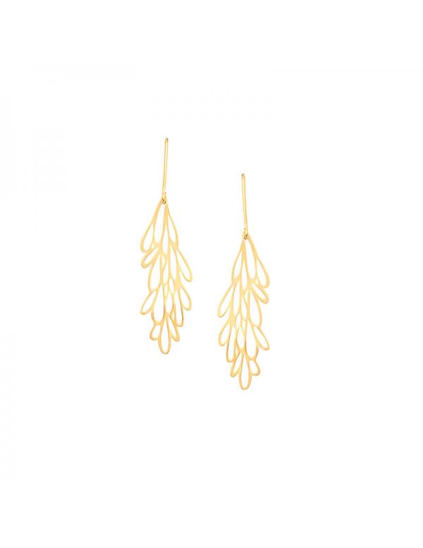Pozłacane kolczyki ażurowe z motywem roślinnym