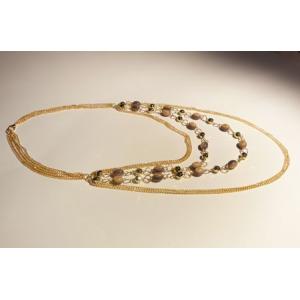 """Naszyjnik z łańcuszków i koralików """" gold chains"""""""