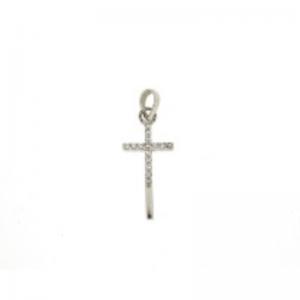 Srebrny krzyżyk zawieszka z cyrkoniami