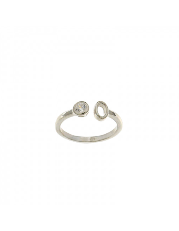 Srebrny pierścionek z białym oczkiem