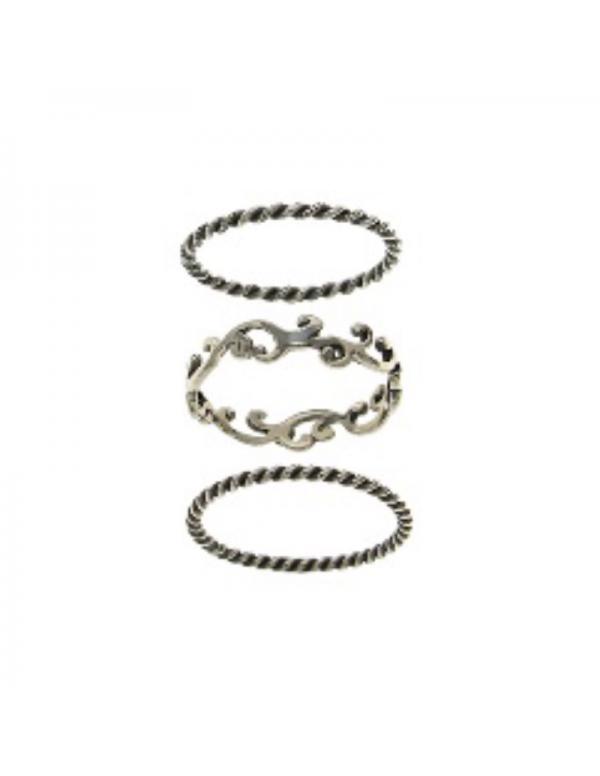 Komplet srebrnych obrączek oksydowanych ażurowych