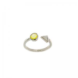 Srebrny pierścionek z żółtą...