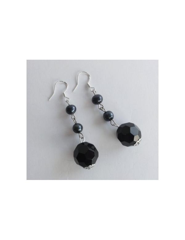 """Kolczyki z czarnym kryształem i perłą """" black crystal"""" Srebrne kolczyki z czarnym kryształem i perłą """" black crystal"""""""