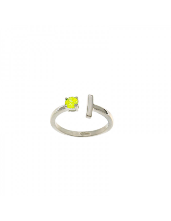 Srebrny pierścionek z żółtą cyrkonią