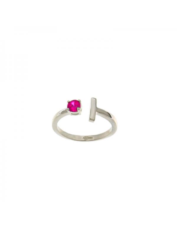 Srebrny pierścionek z czerwona cyrkonią