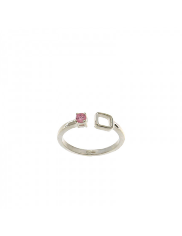 Srebrny pierścionek z różowym oczkiem