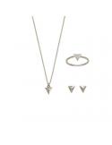 Srebrny komplet trójkąt naszyjnik kolczyki i pierścionek