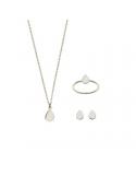 Srebrny komplet łezka naszyjnik kolczyki i pierścionek
