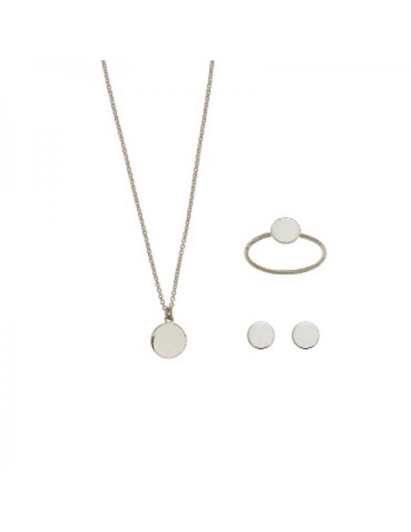Srebrny komplet kółko naszyjnik kolczyki i pierścionek