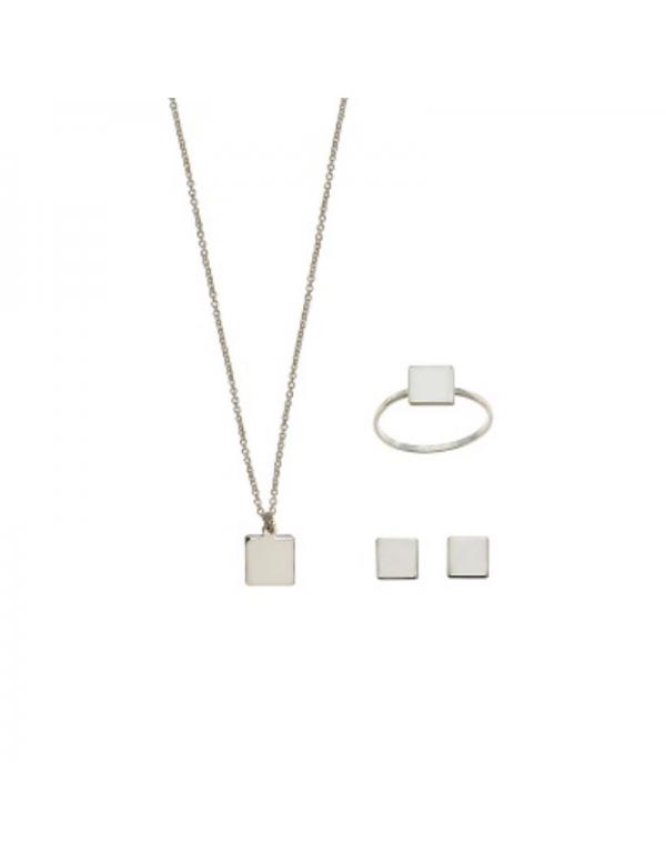 Srebrny komplet kwadrat naszyjnik kolczyki i pierścionek