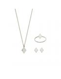 Srebrny komplet romb naszynik kolczyki pierścionek płaski