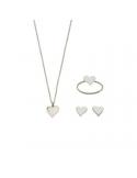 Srebrny komplet serduszko naszyjnik kolczyki i pierścionek