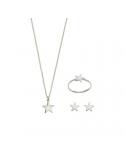 Srebrny komplet gwiazdka naszyjnik kolczyki i pierścionek