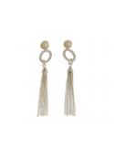 Srebrne kolczyki wiszące chwosty z perłą i cyrkoniami