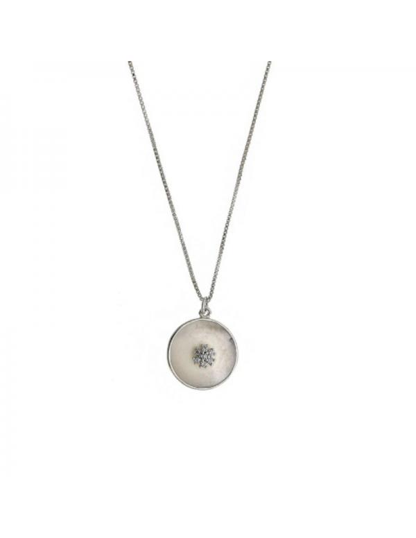 Srebrny naszyjnik z masą perłową okrągły