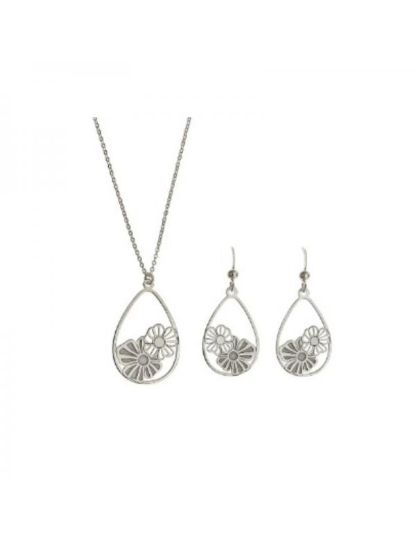 Komplet naszyjnik i kolczyki srebrny kwiaty