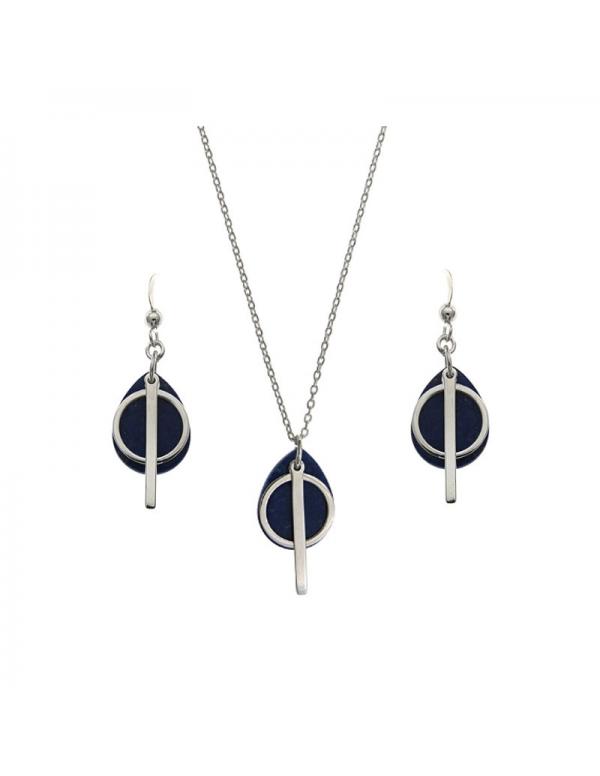 Komplet srebrny Lapis Lazuli z kółeczkiem i patyczkiem